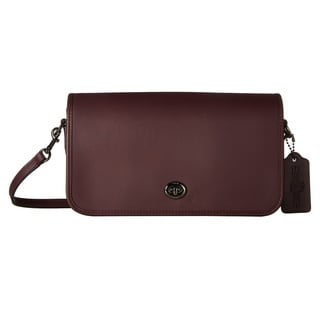 Coach Turnlock Oxblood Leather Crossbody Handbag