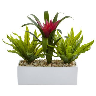Nearly Natural Faux Bromeliad and Birds Nest in Rectangular Planter