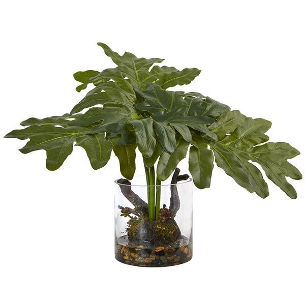Nearly Natural Philodendron Arrangement with Vase