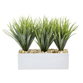 Nearly Natural Vanilla Grass in Rectangular Planter