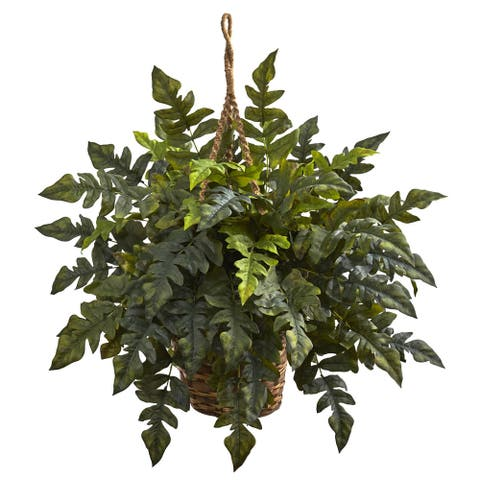 Nearly Natural Faux Holly Fern Hanging Basket - Green