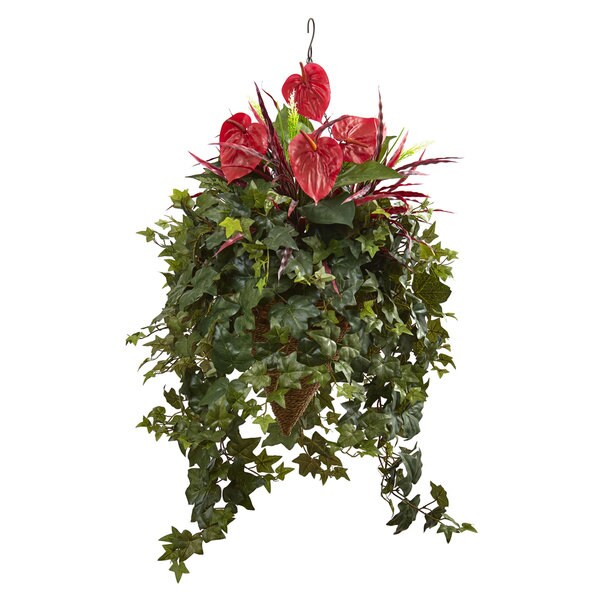 Nearly Natural Green/Red Mixed Anthurium Hanging Basket