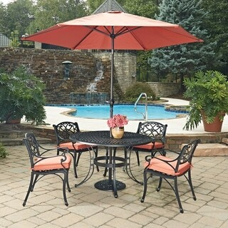 Biscayne Black Round 7 Pc Outdoor Dining Table, 4 Arm Chairs with Cushions & Umbrella with Base by Home Styles