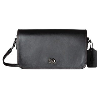Coach Turnlock Black Leather Crossbody Handbag