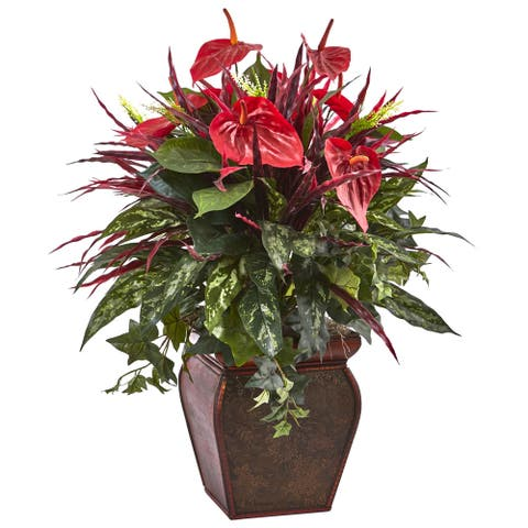 Nearly Natural Anthurium Mixed Plant with Planter
