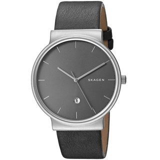 Skagen Men's 'Ancher' Grey Leather Watch