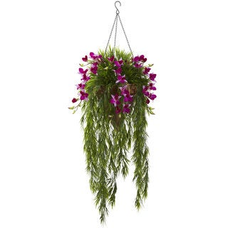 Nearly Natural Purple Bamboo and Dendrobium Hanging Basket