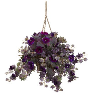 Nearly Natural Purple/Green Silk Morning Glory Hanging Basket