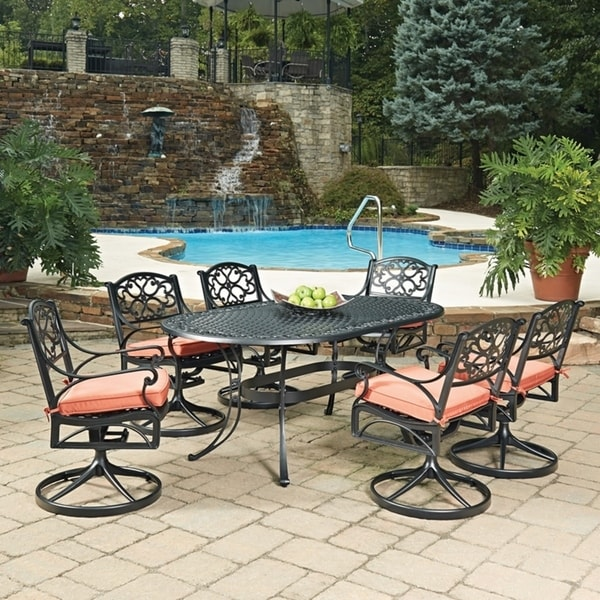 Shop Biscayne Black Oval 7 Pc Outdoor Dining Table Amp 6