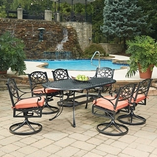 Biscayne Black Oval 7 Pc Outdoor Dining Table U0026 6 Swivel Rocking Chairs  With Cushions By
