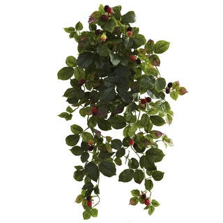 Nearly Natural 32-inch Raspberry Hanging Bush with Berry (Set of 2)