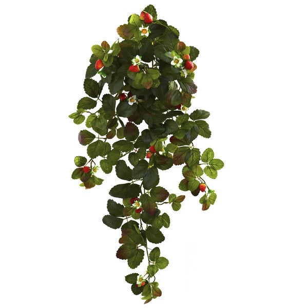 31-inch Strawberry Hanging Bush with Berry (Set of 2)