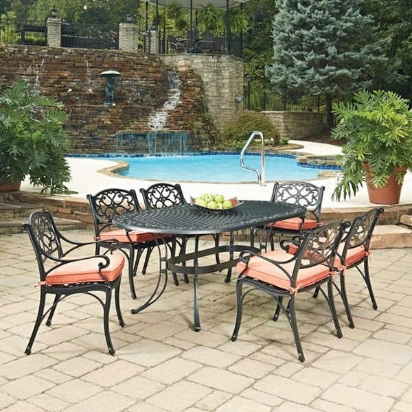 Shop Biscayne Black Oval 7 Pc Outdoor Dining Table & 6 Arm