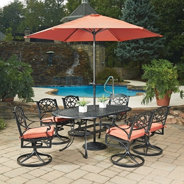 Shop Biscayne Black Oval 9 Pc Outdoor Dining Table 6