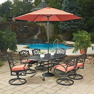 Biscayne Black Oval 9 Pc Outdoor Dining Table, 6 Swivel Rocking Chairs with Cushions & Umbrella with Base by Home Styles