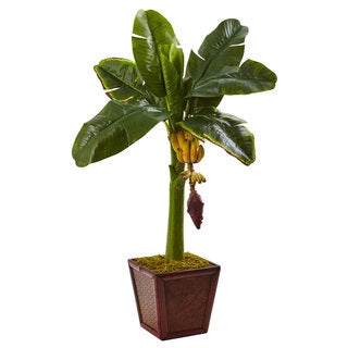 Nearly Natural Banana Tree in Wooden Planter