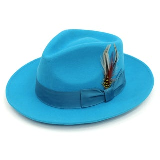 Ferrecci Men's Turquoise Wool Fully Lined Fedora Hat