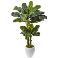Nearly Natural 5-foot Double Stalk Banana Tree in White Planter
