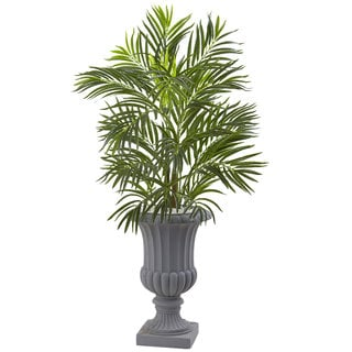 Nearly Naturals 3.5-foot UV-resistant Indoor/Outdoor Areca Palm Tree with Gray Urn