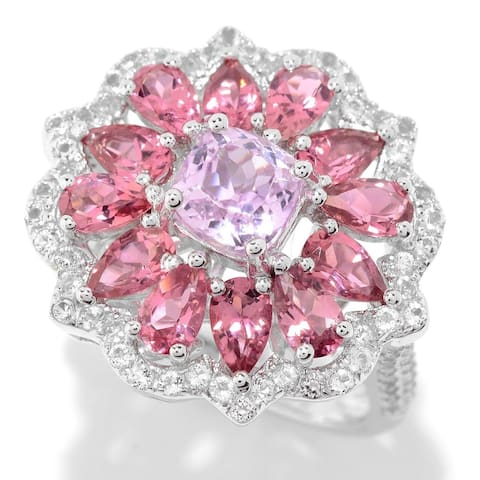 Pinctore Sterling Silver Kunzite, White Topaz, and Toumaline Flower Ring