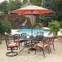 Biscayne Rust Bronze Round 9-piece Outdoor Dining Set with Cushioned Arm and Swivel Rocking Chairs and Umbrella by Home Styles