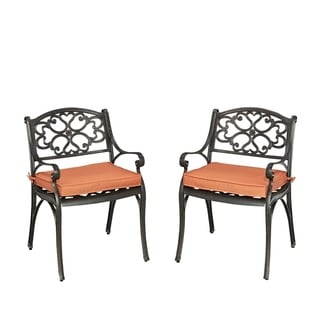 Home Styles Biscayne Rust Bronze Pair of Arm Chairs with Cushions