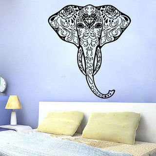 Decorated Elephant Wall Decals Indian Elephant Art Design Mural Animals Decor Sticker Decal size 22x