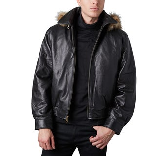 Men's Black Pebble Lamb Bomber Jacket with Detachable Hood