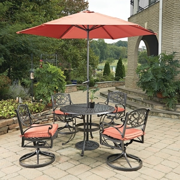 Shop Biscayne Rust Bronze Round 7 Pc Outdoor Dining Table