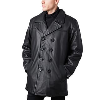 Men's Black Glove Leather Pea Coat|https://ak1.ostkcdn.com/images/products/14307857/P20889850.jpg?impolicy=medium