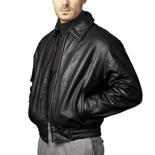 Men's Glove Leather Bomber Zip-out Liner Jacket