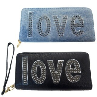 Cotton-blend Love Pattern Silver Studded Design Clutch Wallet