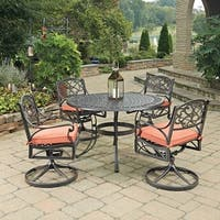 Biscayne Rust Bronze Round 5 Pc Outdoor Dining Table & 4 Swivel Rocking Chairs with Cushions by Home Styles