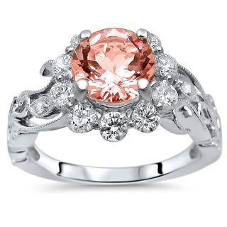 Noori 14k Gold 1 4/5 TGW Morganite Flower Floral Diamond Engagement Ring
