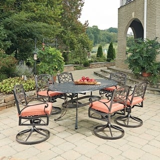 Biscayne Rust Bronze Oval 7 Pc Outdoor Dining Table & 6 Swivel Rocking Chairs with Cushions by Home Styles