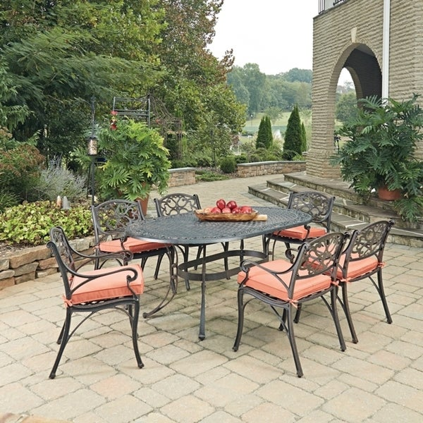 Shop Biscayne Rust Bronze Oval 7 Pc Outdoor Dining Table