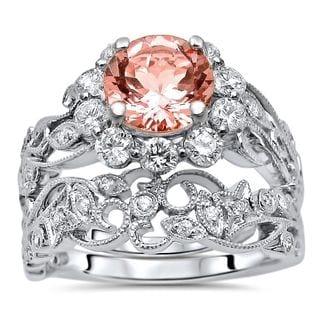 Noori 14k Gold 1 5/6 TGW Morganite Flower Floral Diamond Engagement Ring Bridal Set