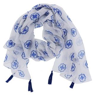 LA77 White and Blue Tassel Scarf