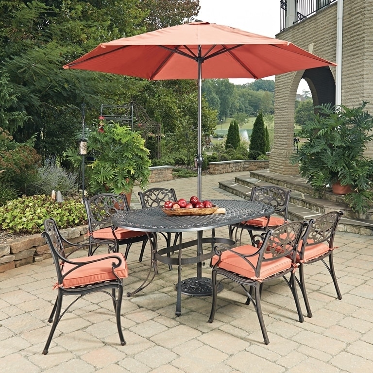 Biscayne Rust Bronze Oval 9 Pc Outdoor Dining Table, 6 Ar...