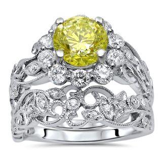 Noori 14k White Gold 1 3/4ct Yellow Round Diamond Engagement Ring Bridal Set 14k White Gold
