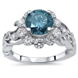 Certified Noori 14k White Gold 1 3/5 ct TDW Blue Round Diamond Flower Floral Engagement Ring (SI1-SI2/G-H)