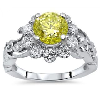 Certified Noori 14k White Gold 1 3/5 ct TDW Yellow Round Diamond Flower Floral Engagement Ring