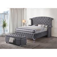 Acme Furniture Rebekah Bed, Gray Velvet