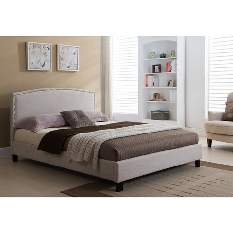 DG Casa Melrose Beige Wood and Fabric Queen Bed