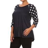 Women's Navy Rayon-blend Polka Dot Sleeve Tunic