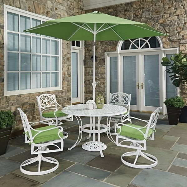 Shop Biscayne White Round 7 Pc Outdoor Dining Table 4
