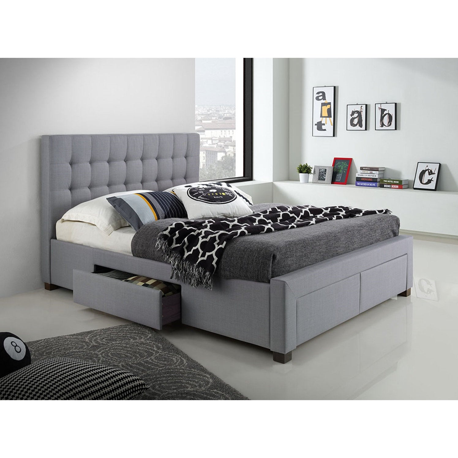 Dg Casa Kyla Grey Wood Fabric 4 Drawer Platform Storage Bed Overstock 14308424 Queen Linen Fabric Storage Upholstered