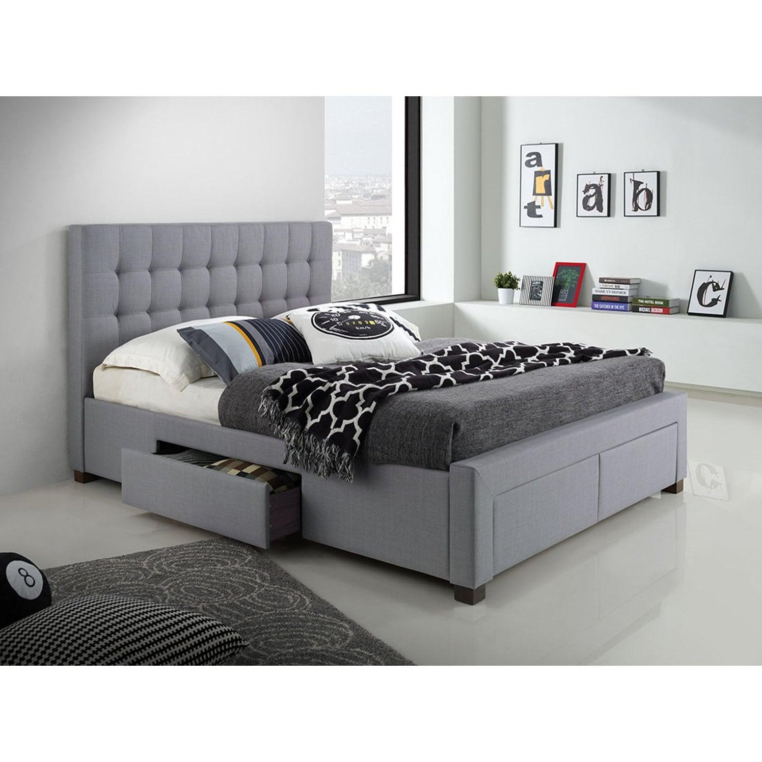 DG Casa Kyla Grey Wood/Fabric Queen 4-drawer Bed (Queen)