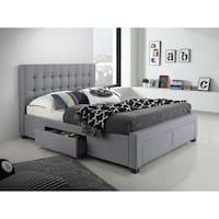 DG Casa Kyla Grey Wood/Fabric Queen-sized 4-drawer Bed
