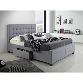 DG Casa Kyla Grey Wood/Fabric Queen-sized 4-drawer Bed